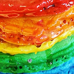 Photo : Pancakes arc-en-ciel