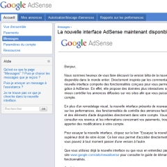 Essayer la nouvelle interface AdSense
