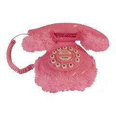 Photo : Téléphone en fourrure rose