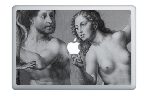 photo du sticker Adam et Eve sur un MacBook