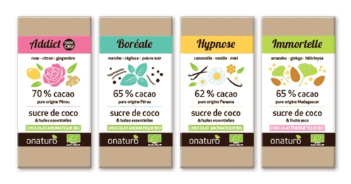 Les tablettes de chocolat Onaturo en photo