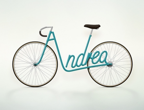 photo d'un vélo typo Write a bike