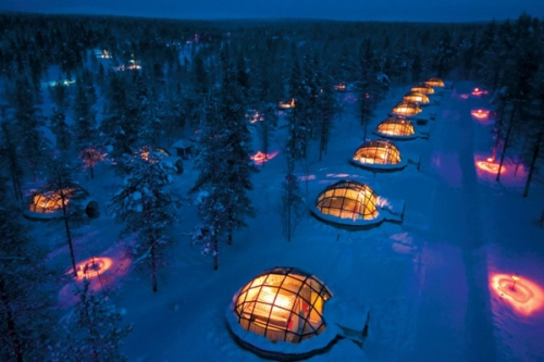 photo : vue du village des igloos en Finlande